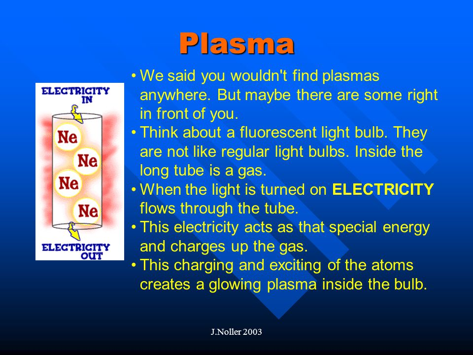 J.Noller 2003 Plasma Plasmas are a lot like gases The atoms are different because they are made up of free ELECTRONS and IONS of the element.