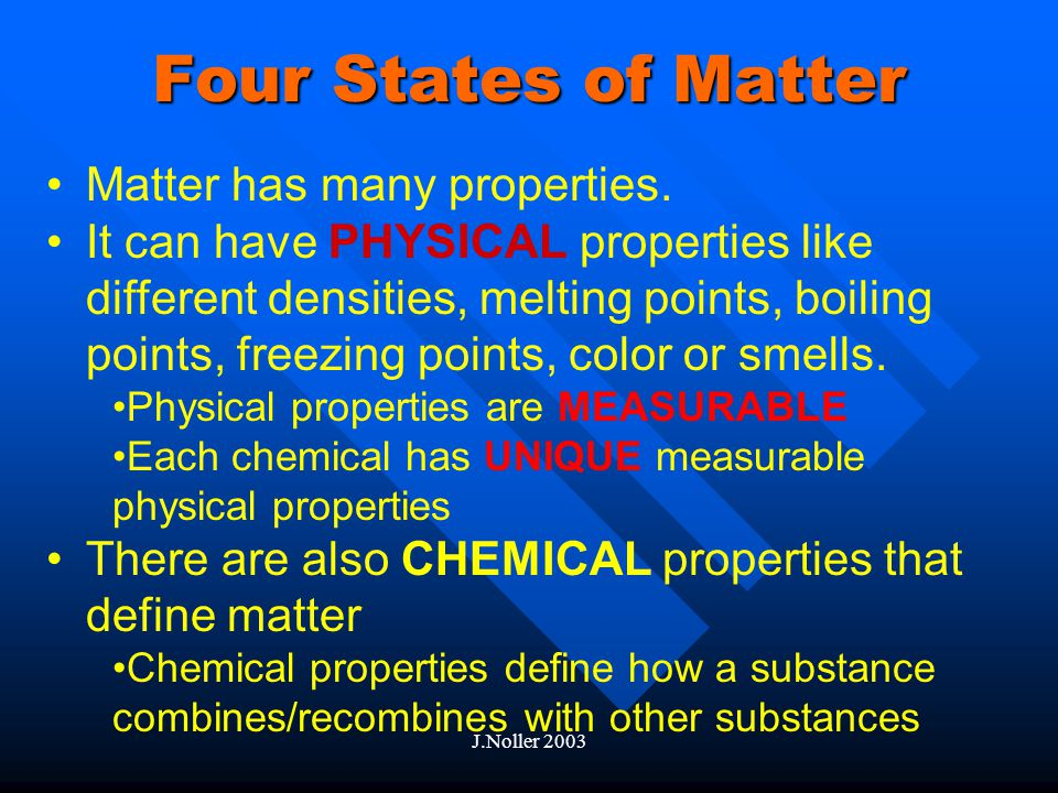 2/25/2003J.Noller 2003 States of Matter The Effects of Energy on Matter