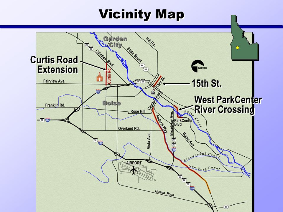 Curtis Road Extension 15th St. West ParkCenter River Crossing Vicinity Map