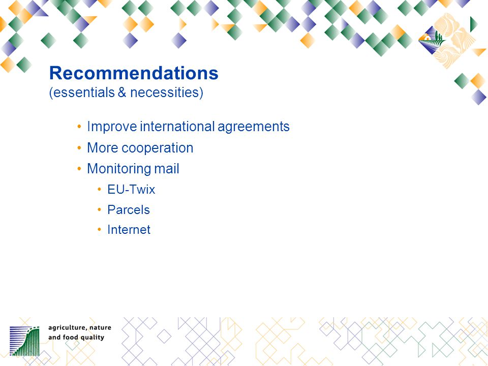 Recommendations (essentials & necessities) Improve international agreements More cooperation Monitoring mail EU-Twix Parcels Internet