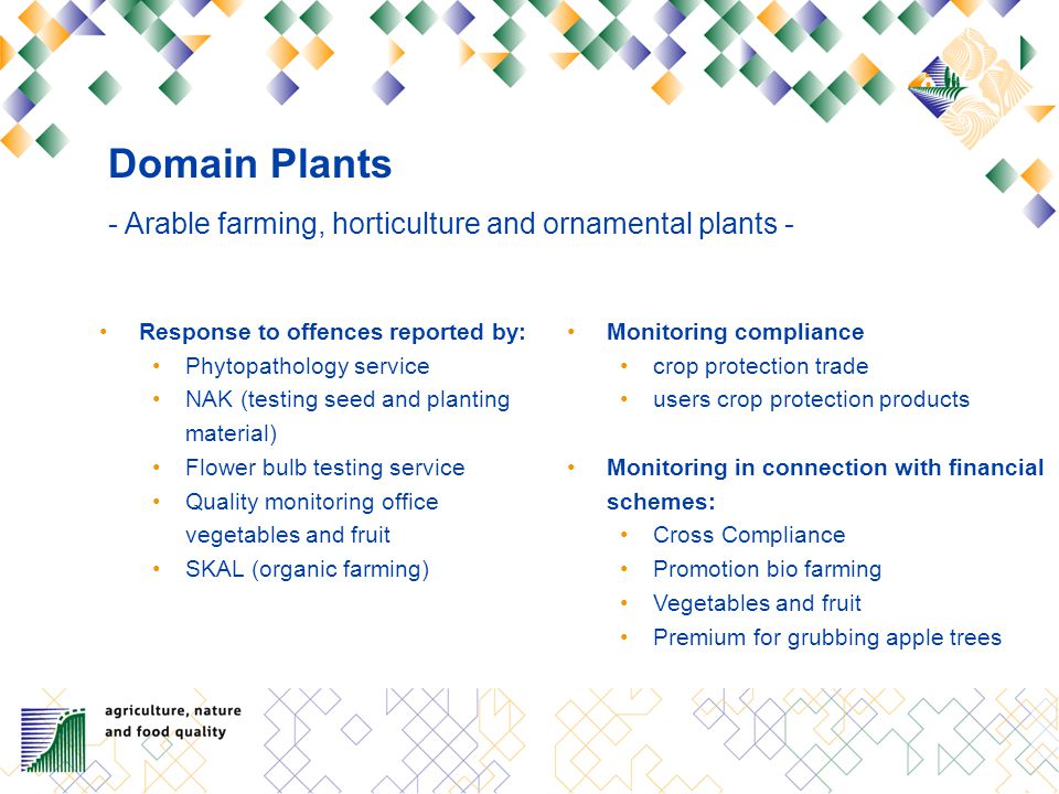 Domain Plants - Arable farming, horticulture and ornamental plants - Response to offences reported by: Phytopathology service NAK (testing seed and planting material) Flower bulb testing service Quality monitoring office vegetables and fruit SKAL (organic farming) Monitoring compliance crop protection trade users crop protection products Monitoring in connection with financial schemes: Cross Compliance Promotion bio farming Vegetables and fruit Premium for grubbing apple trees