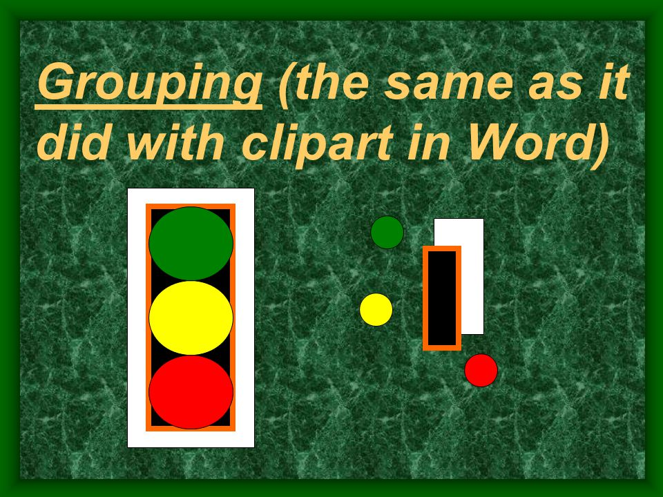 Grouping (the same as it did with clipart in Word)
