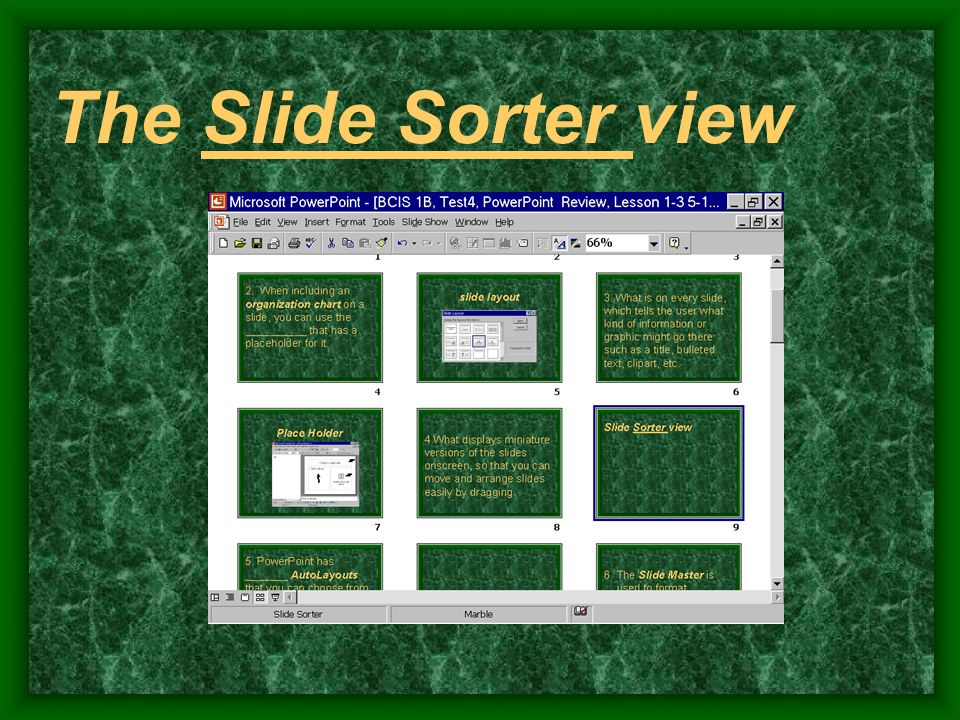 The Slide Sorter view
