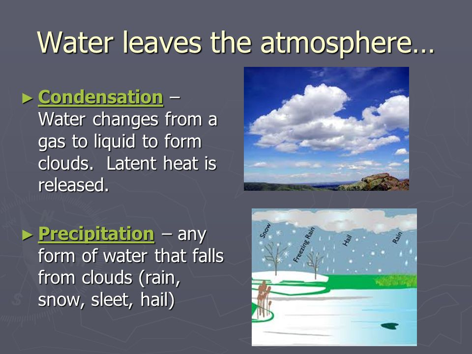 Water leaves the atmosphere… ► Condensation – Water changes from a gas to liquid to form clouds. Latent heat is released. ► Precipitation – any form o