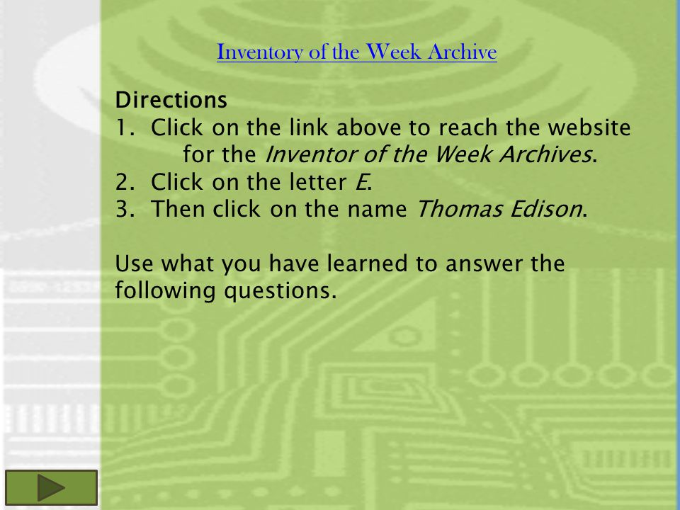 Inventory of the Week Archive Directions 1.