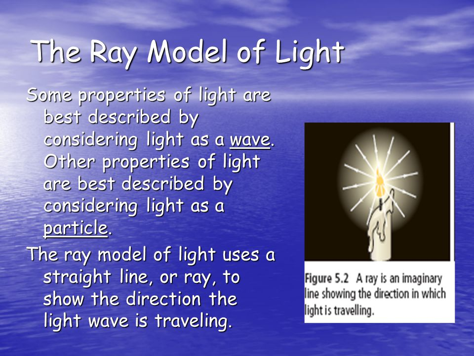 The Ray Model of Light Some properties of light are best described by considering light as a wave. Other properties of light are best described by con