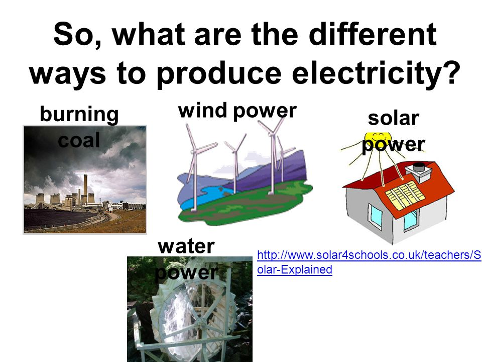 So, what are the different ways to produce electricity.