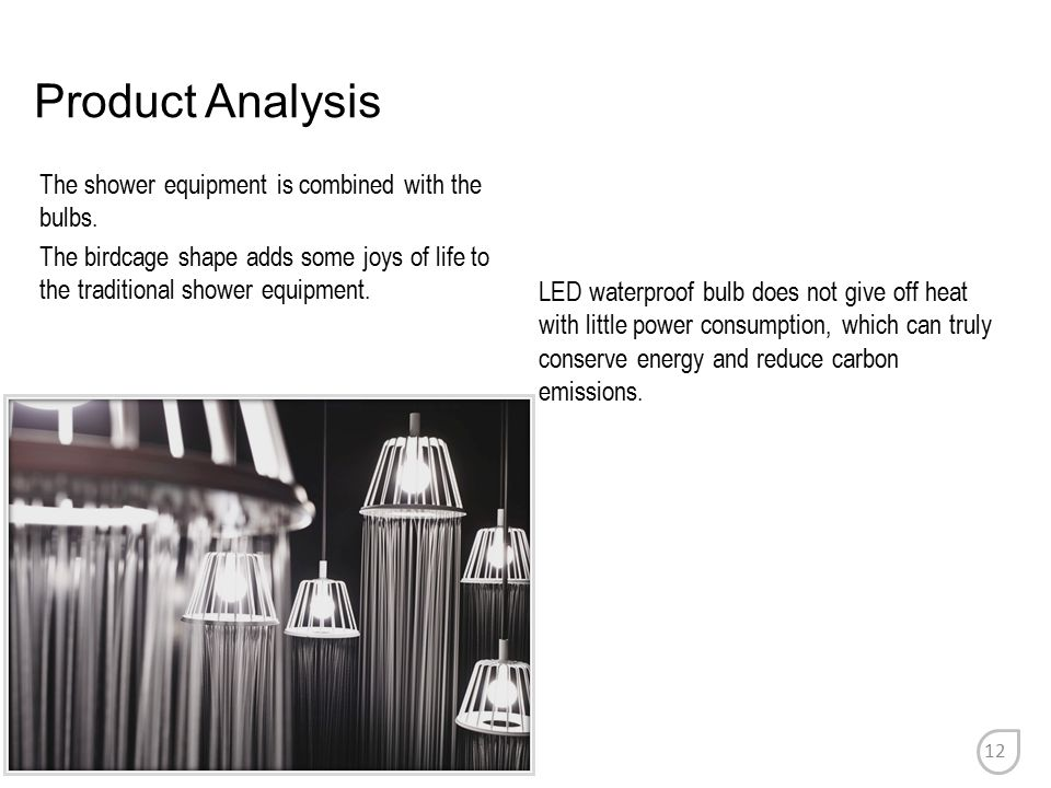 Product Analysis The shower equipment is combined with the bulbs. The birdcage shape adds some joys of life to the traditional shower equipment. LED w