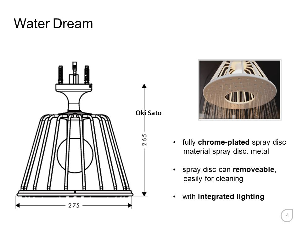 Water Dream fully chrome-plated spray disc material spray disc: metal spray disc can removeable, easily for cleaning with integrated lighting Oki Sato
