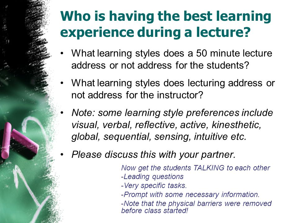 Who is having the best learning experience during a lecture.