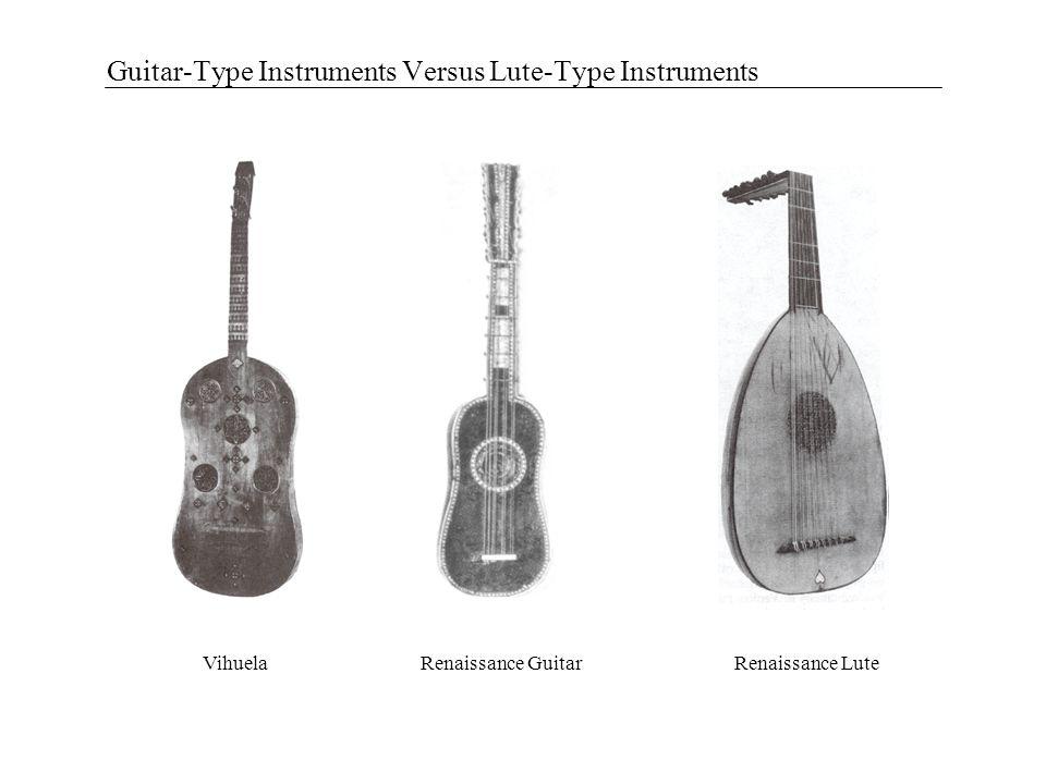 Guitar-Type Instruments Versus Lute-Type Instruments Renaissance GuitarRenaissance LuteVihuela