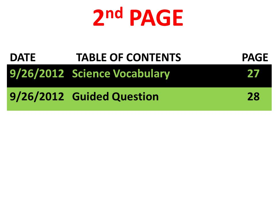 DATE TABLE OF CONTENTS PAGE 2 nd PAGE 9/26/2012 Science Vocabulary 27 9/26/2012 Guided Question 28