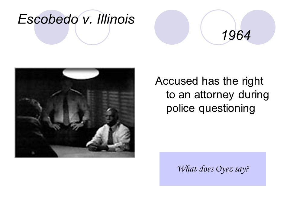 Escobedo v. Illinois 1964 Accused has the right to an attorney during police questioning What does Oyez say?