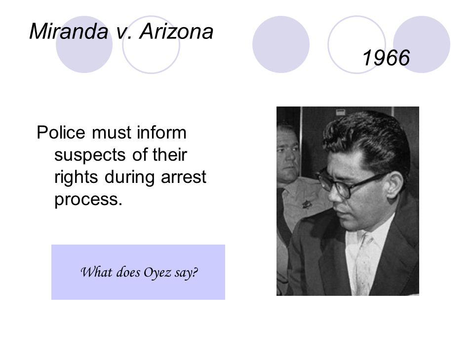 Miranda v. Arizona 1966 Police must inform suspects of their rights during arrest process. What does Oyez say?
