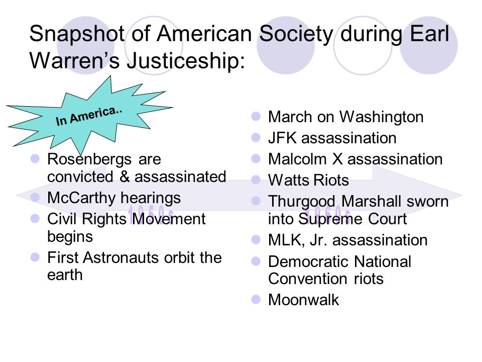 In America.. Snapshot of American Society during Earl Warren's Justiceship: Rosenbergs are convicted & assassinated McCarthy hearings Civil Rights Mov