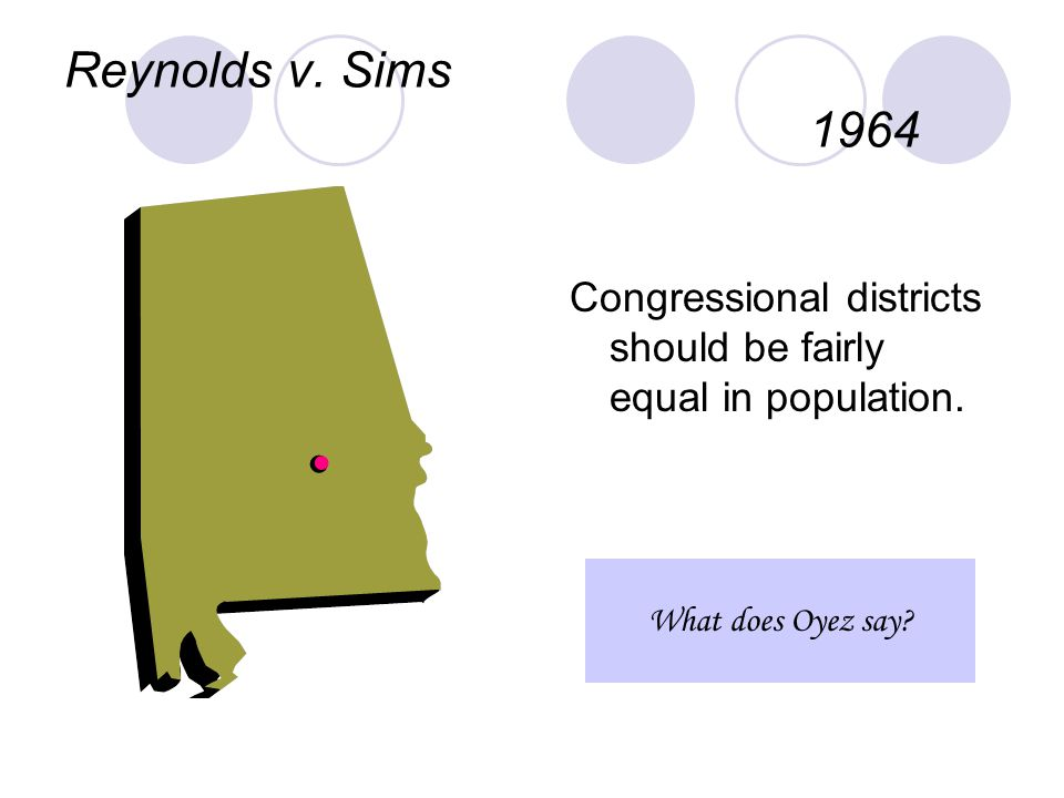Reynolds v. Sims 1964 Congressional districts should be fairly equal in population. What does Oyez say?