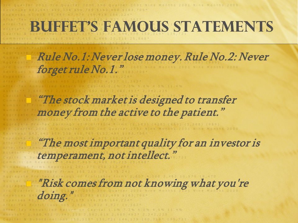 Buffet's famous statements Rule No.1: Never lose money.