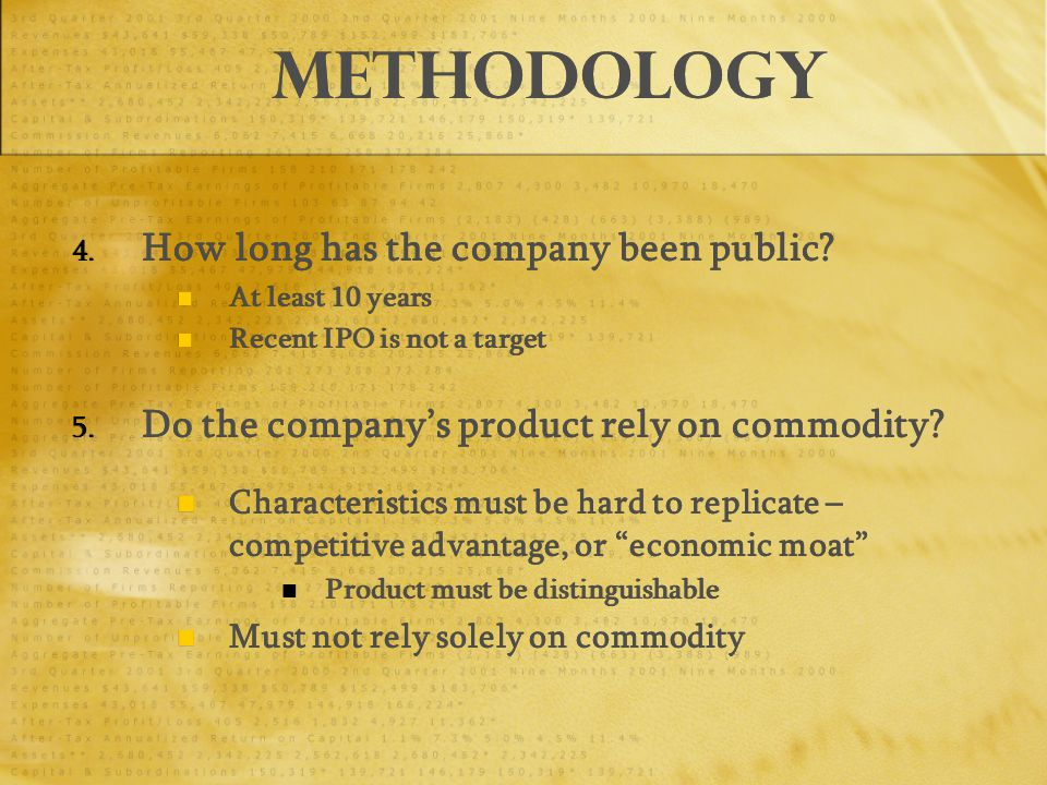 Methodology 4. How long has the company been public.