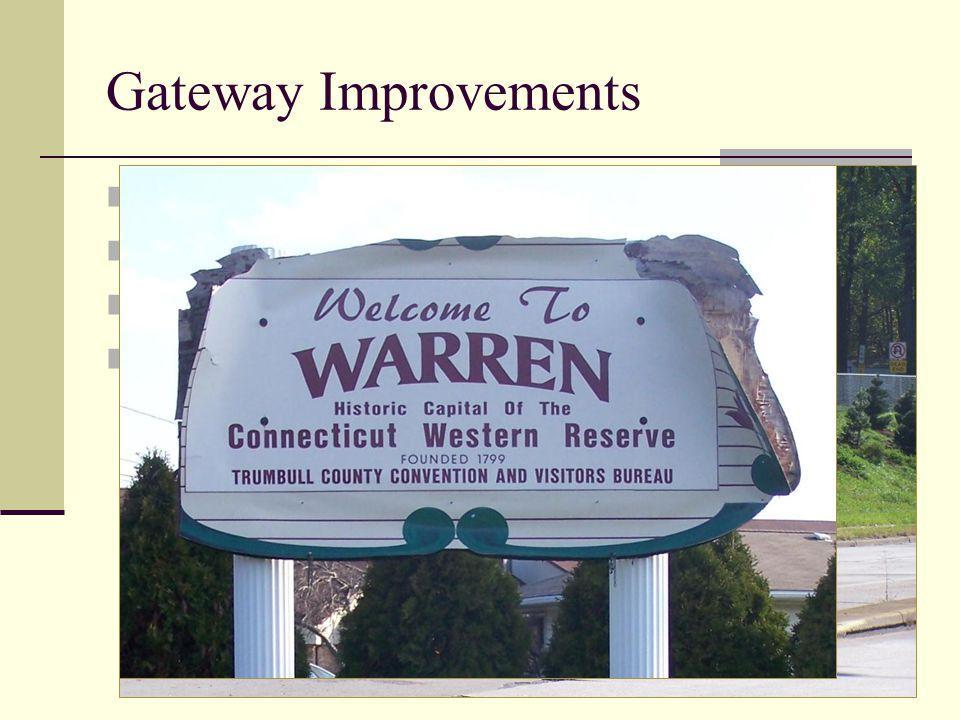 Decorative Crosswalks (2009 & 2010) Mahoning Avenue Lighting (2010) Warren Boulevard Trees (2011) Community Signs (Future Project) Gateway Improvements
