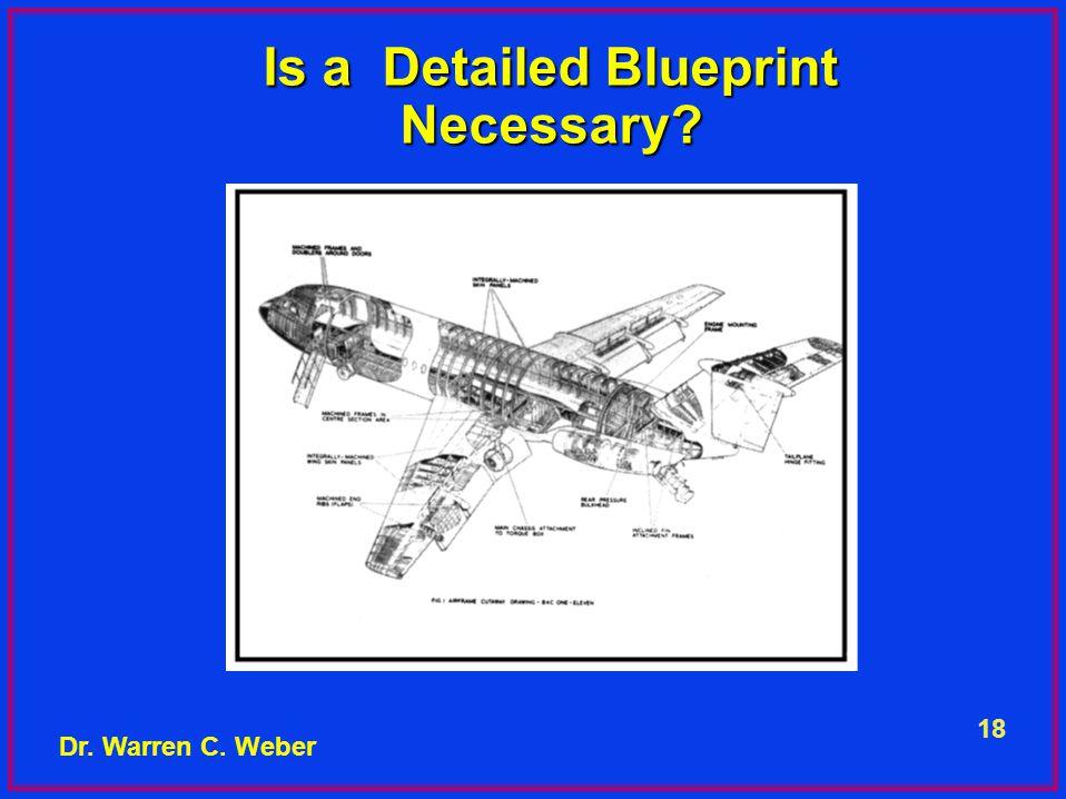 18 Is a Detailed Blueprint Necessary Dr. Warren C. Weber