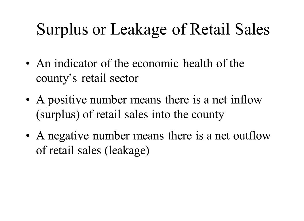 Surplus or Leakage of Retail Sales An indicator of the economic health of the county's retail sector A positive number means there is a net inflow (su