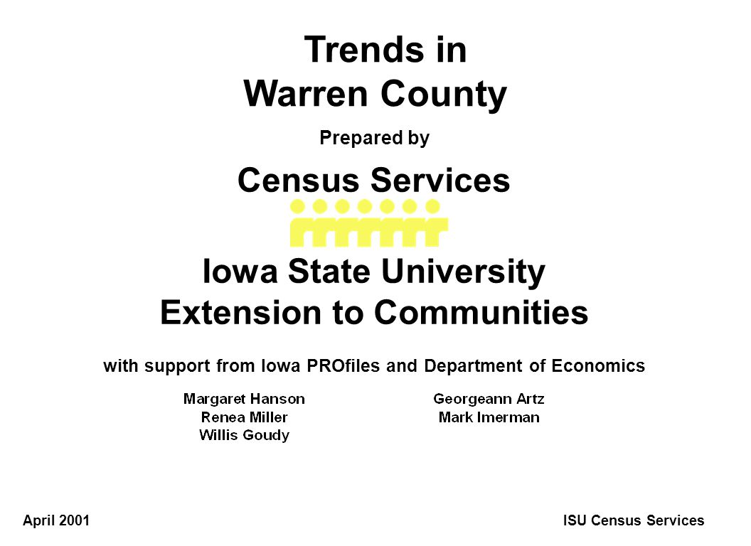 1900195020002020 0 10 20 30 40 50 60 Thousands Projected Population Warren County ISU Census Services Source: Woods & Poole Economics, Inc., 2000