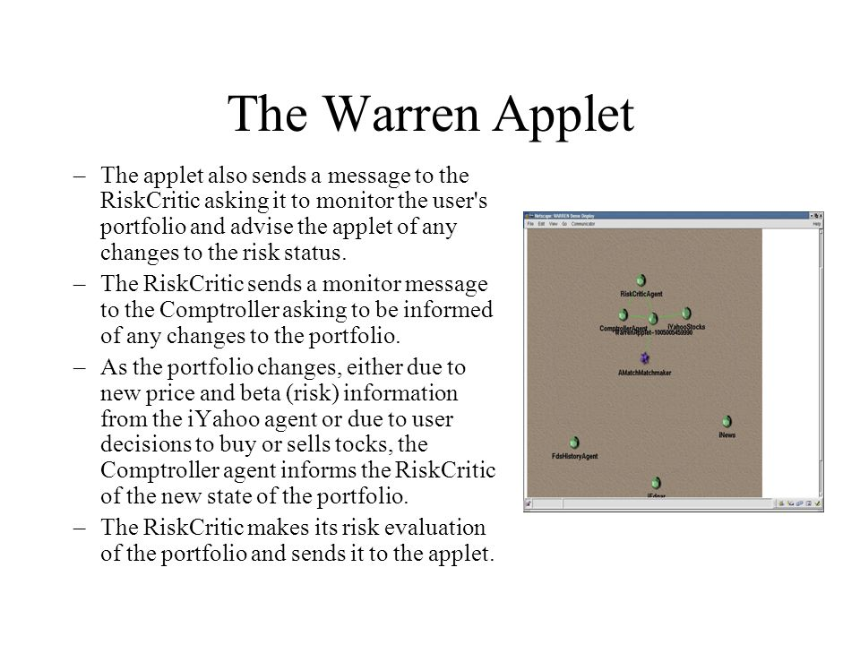 The Warren Applet –The applet also sends a message to the RiskCritic asking it to monitor the user s portfolio and advise the applet of any changes to the risk status.