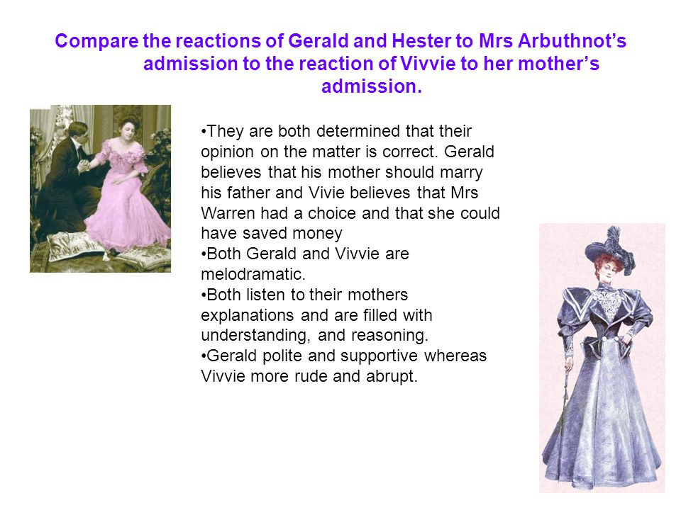 Compare the reactions of Gerald and Hester to Mrs Arbuthnot's admission to the reaction of Vivvie to her mother's admission.
