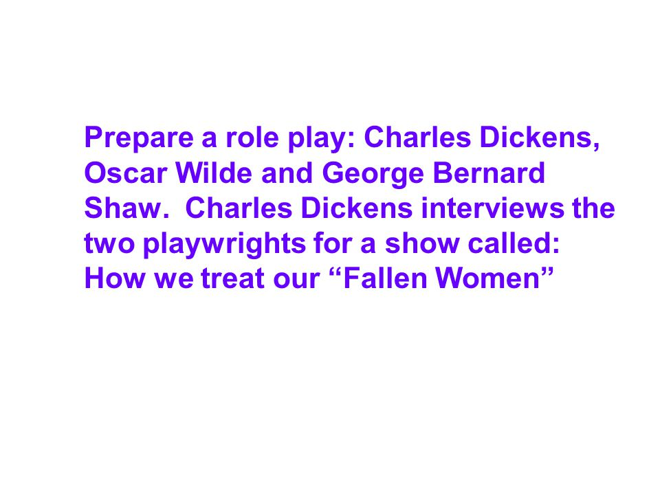 Prepare a role play: Charles Dickens, Oscar Wilde and George Bernard Shaw.
