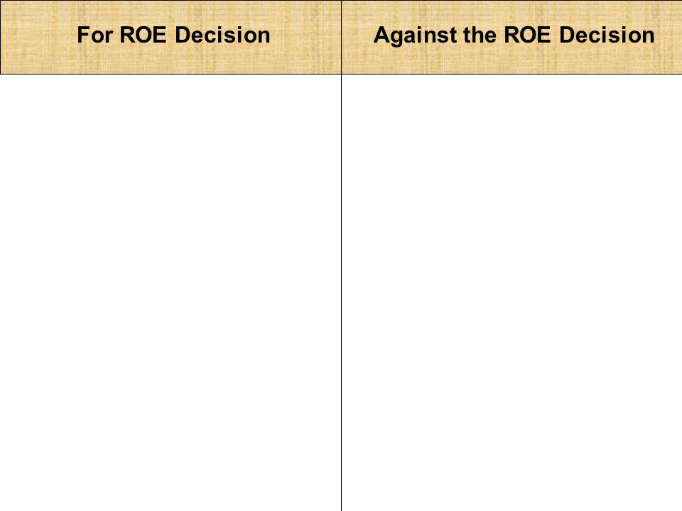 For ROE DecisionAgainst the ROE Decision