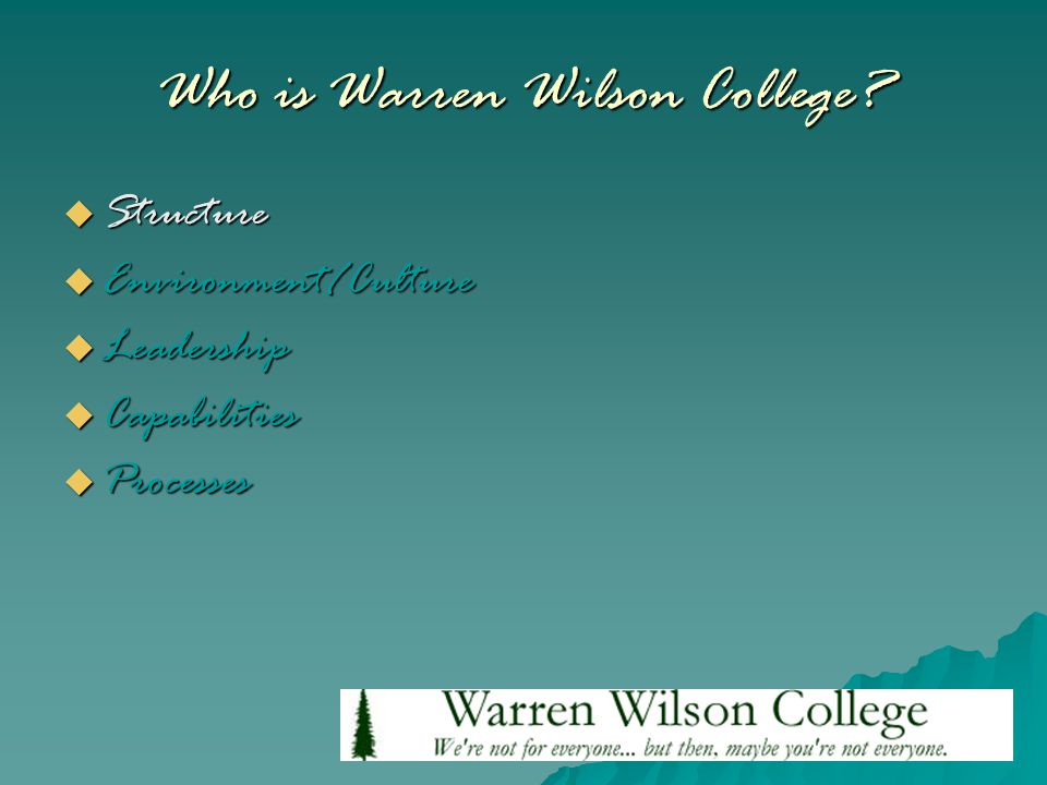 Who is Warren Wilson College?  Structure  Environment/Culture  Leadership  Capabilities  Processes
