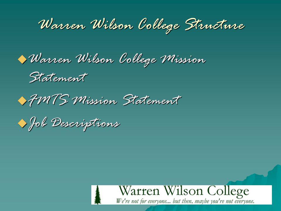 Warren Wilson College Structure  Warren Wilson College Mission Statement  FMTS Mission Statement  Job Descriptions