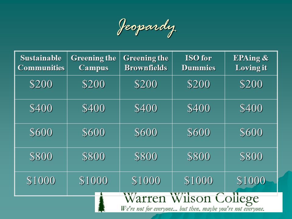 Jeopardy Sustainable Communities Greening the Campus Greening the Brownfields ISO for Dummies EPAing & Loving it $200$200$200$200$200 $400$400$400$400