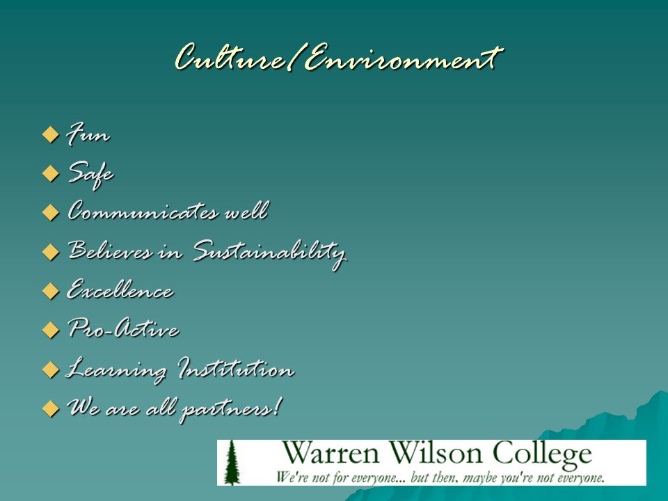 Culture/Environment  Fun  Safe  Communicates well  Believes in Sustainability  Excellence  Pro-Active  Learning Institution  We are all partners!