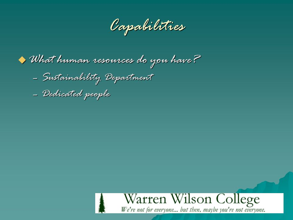 Capabilities  What human resources do you have –Sustainability Department –Dedicated people