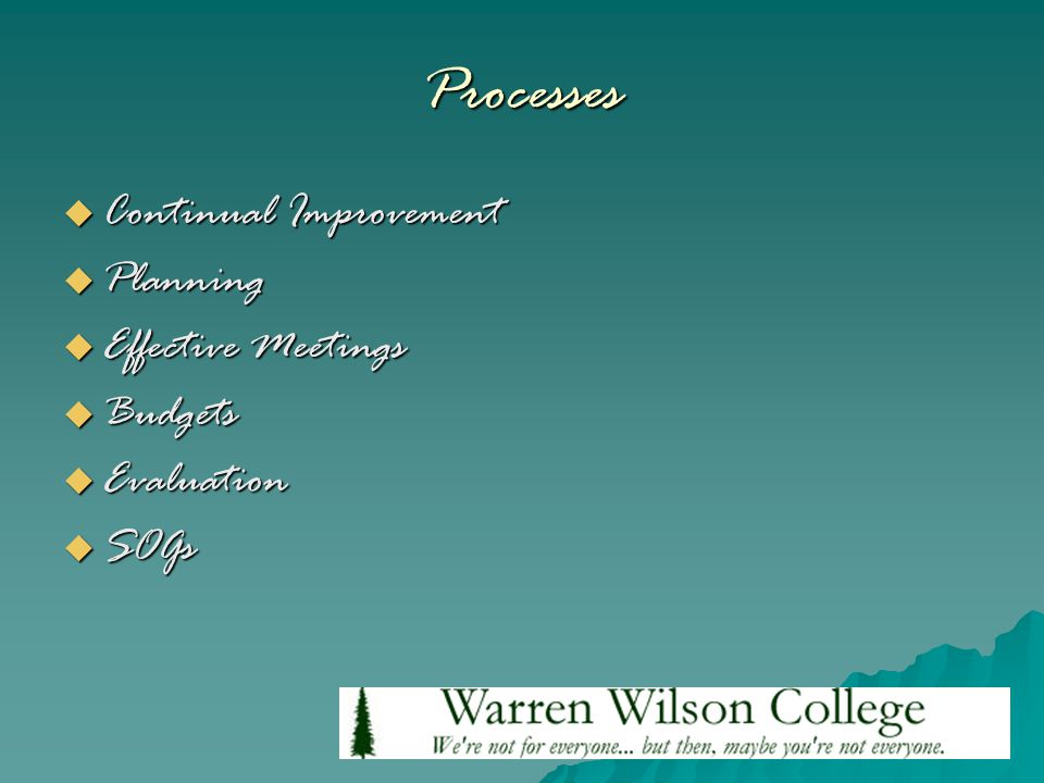 Processes  Continual Improvement  Planning  Effective Meetings  Budgets  Evaluation  SOGs