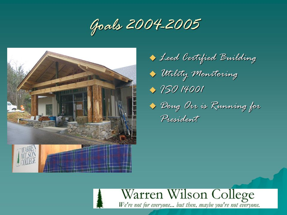 Goals 2004-2005  Leed Certified Building  Utility Monitoring  ISO 14001  Doug Orr is Running for President