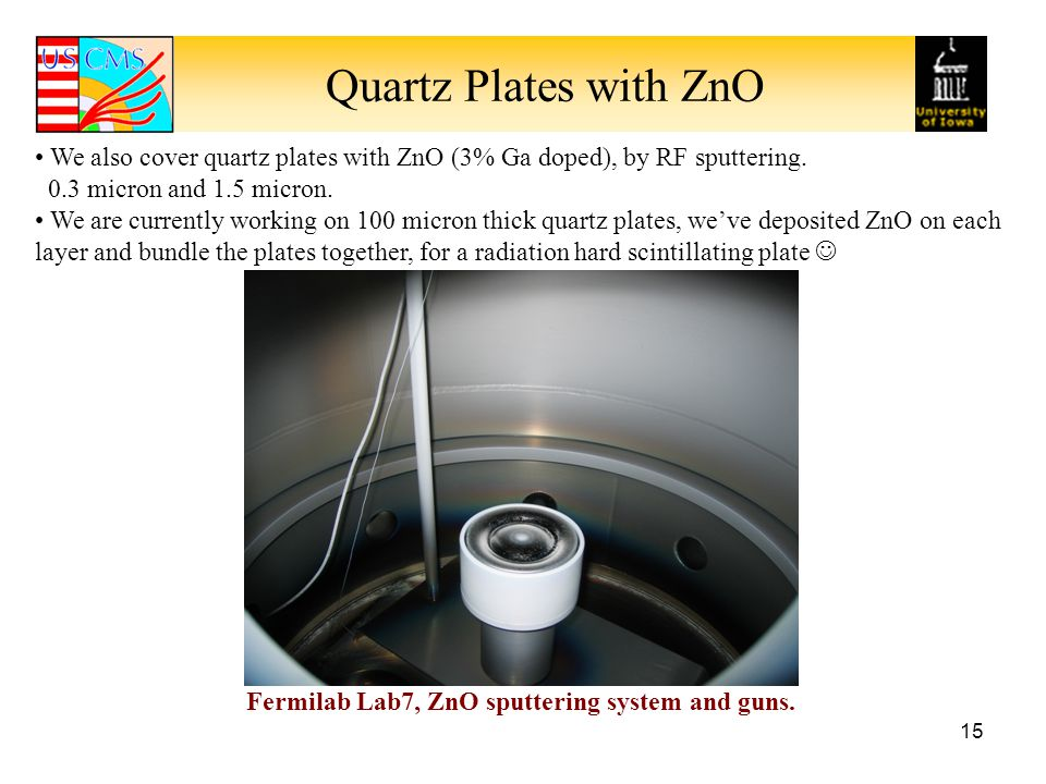Quartz Plates with ZnO 15 We also cover quartz plates with ZnO (3% Ga doped), by RF sputtering.