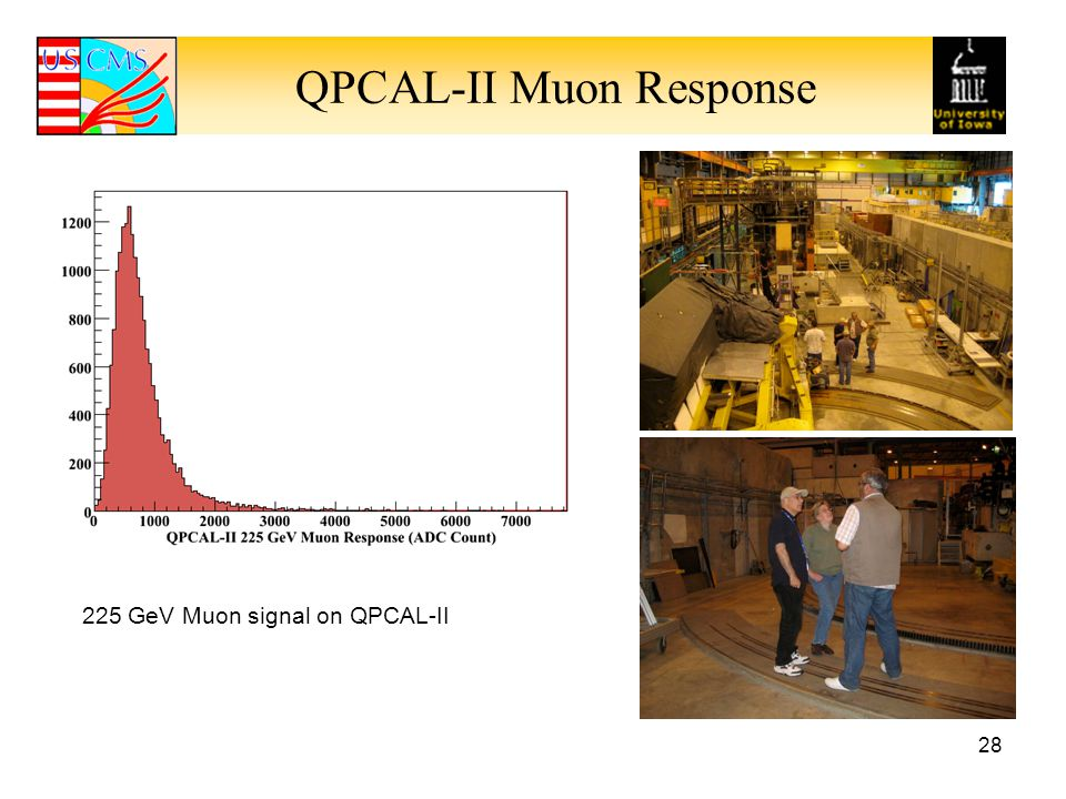 QPCAL-II Muon Response 28 225 GeV Muon signal on QPCAL-II