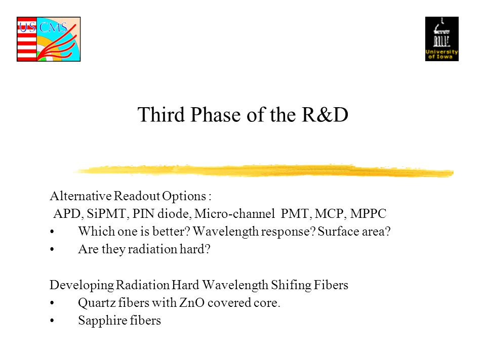 Third Phase of the R&D Alternative Readout Options : APD, SiPMT, PIN diode, Micro-channel PMT, MCP, MPPC Which one is better.