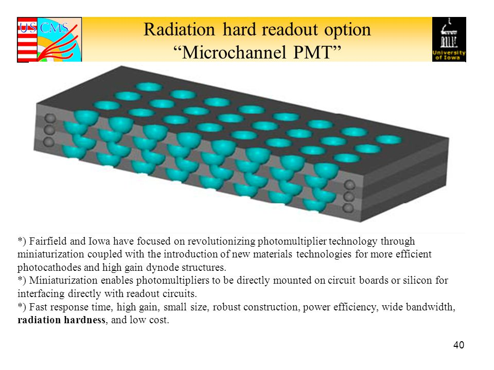 Radiation hard readout option Microchannel PMT 40 *) Fairfield and Iowa have focused on revolutionizing photomultiplier technology through miniaturization coupled with the introduction of new materials technologies for more efficient photocathodes and high gain dynode structures.