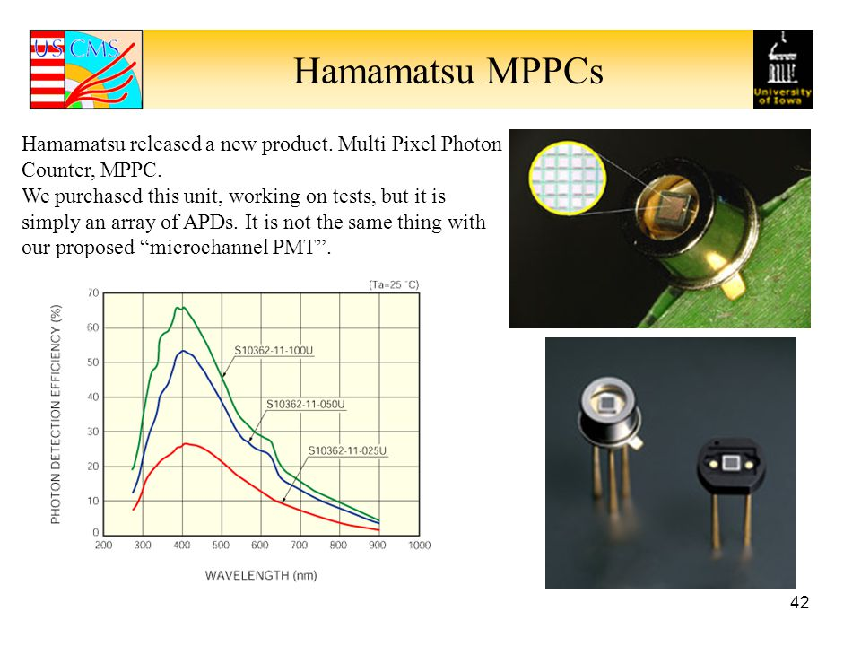 Hamamatsu MPPCs 42 Hamamatsu released a new product.