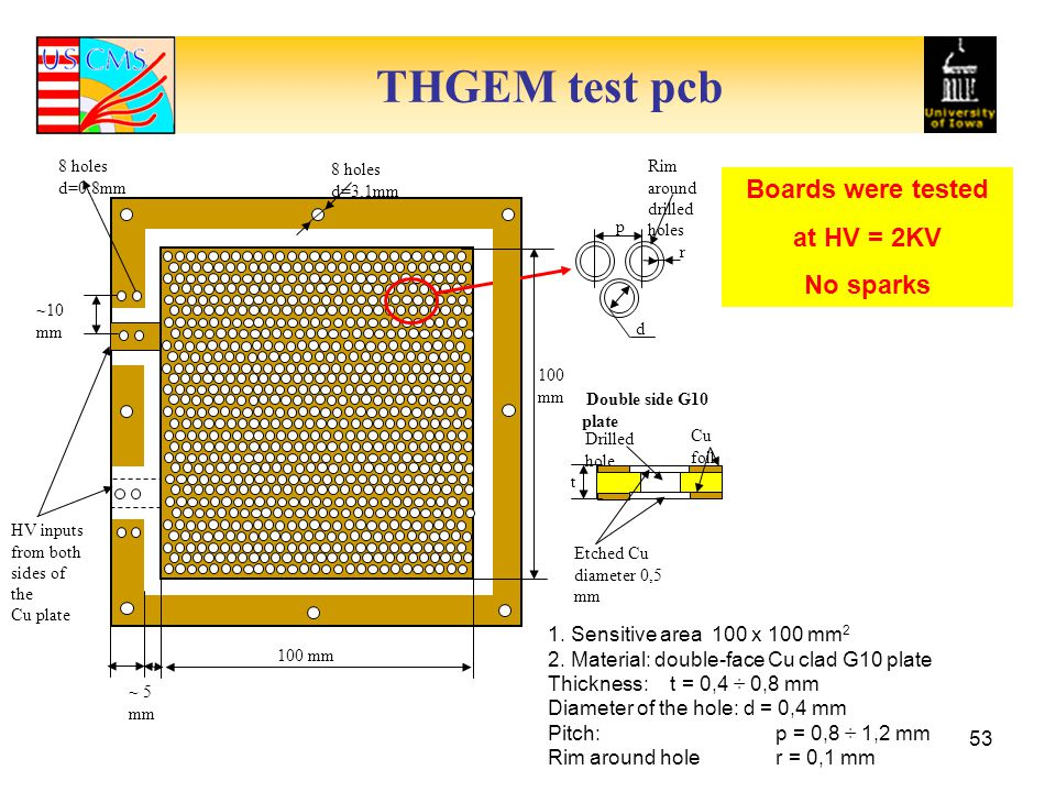 THGEM test pcb 53 1.Sensitive area 100 x 100 mm 2 2.