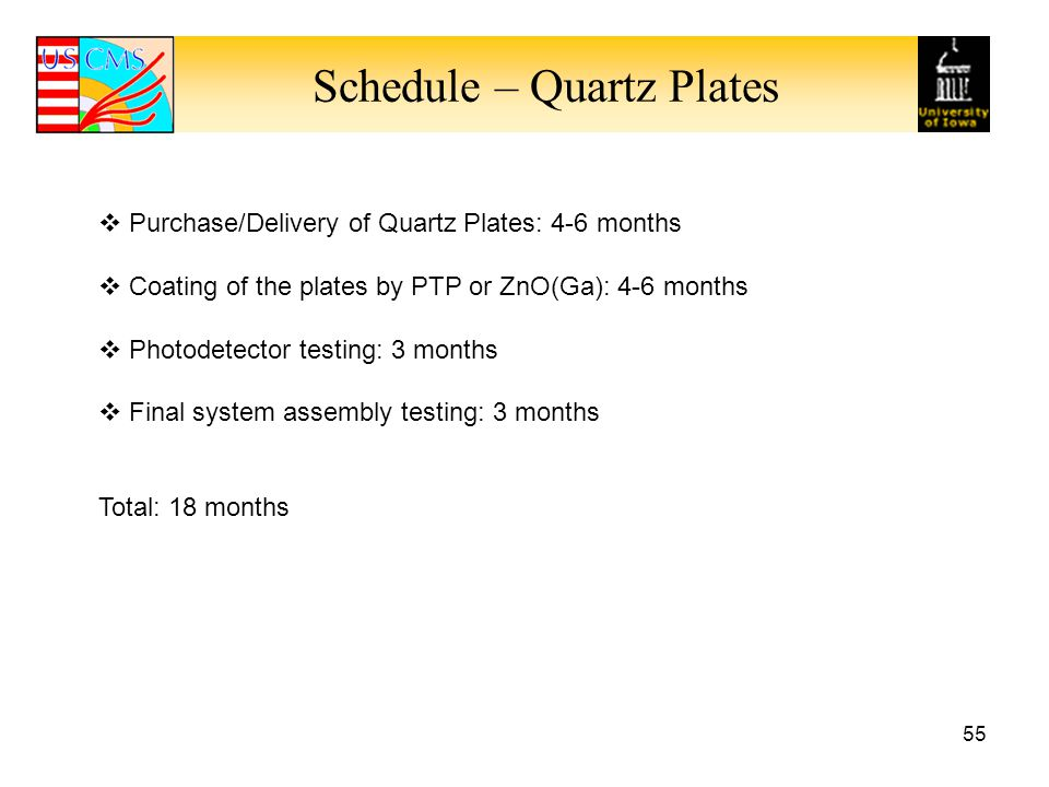 Schedule – Quartz Plates 55  Purchase/Delivery of Quartz Plates: 4-6 months  Coating of the plates by PTP or ZnO(Ga): 4-6 months  Photodetector testing: 3 months  Final system assembly testing: 3 months Total: 18 months