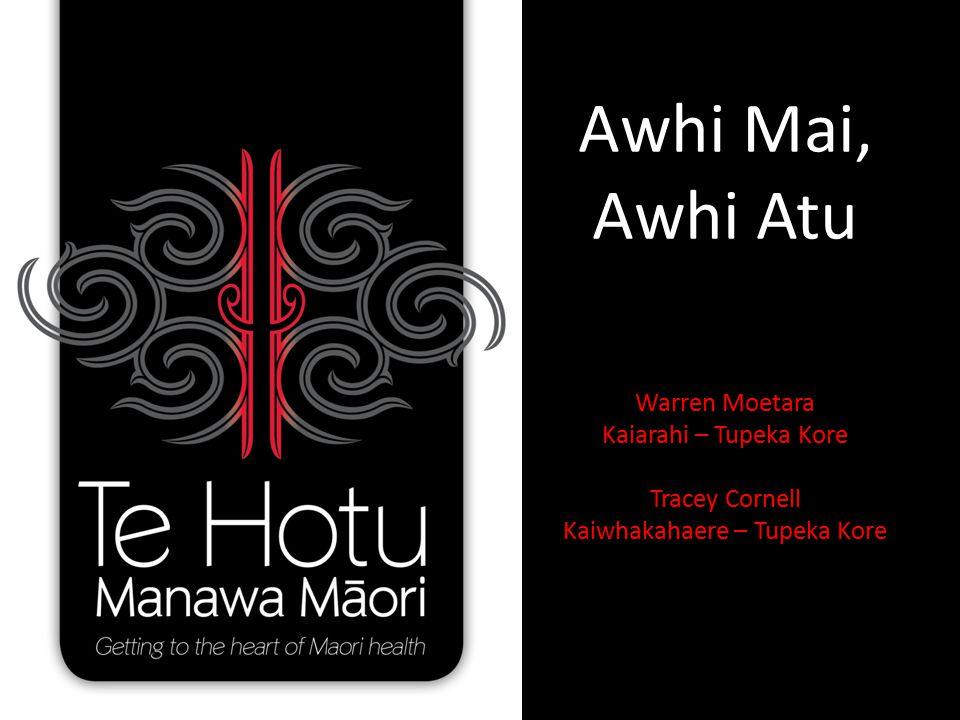 Awhi Mai, Awhi Atu Warren Moetara Kaiarahi – Tupeka Kore Tracey Cornell Kaiwhakahaere – Tupeka Kore