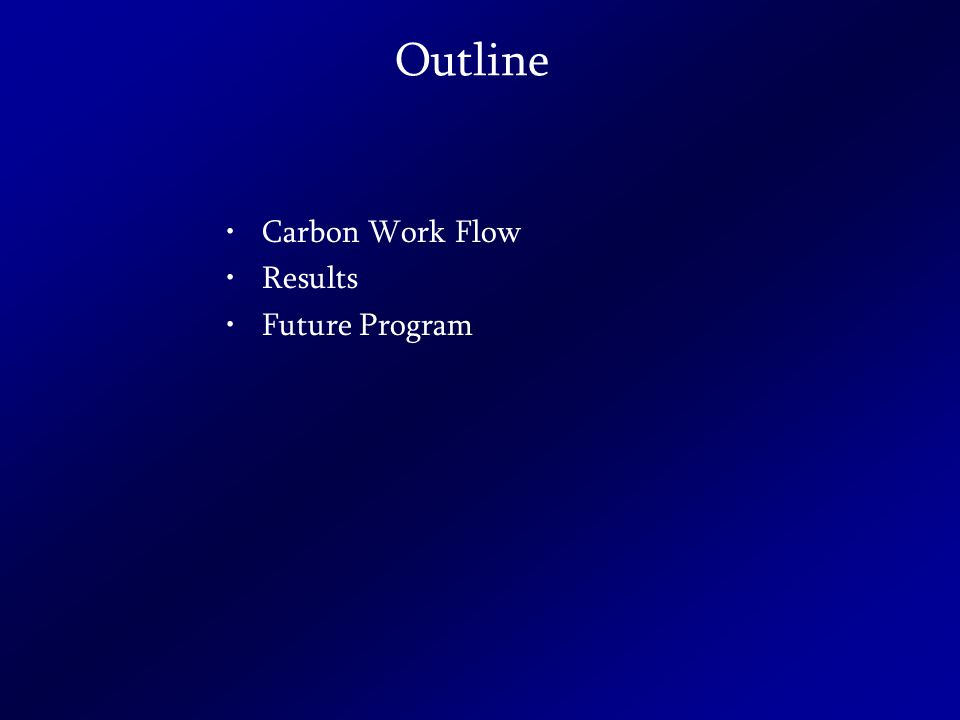 Outline Carbon Work Flow Results Future Program