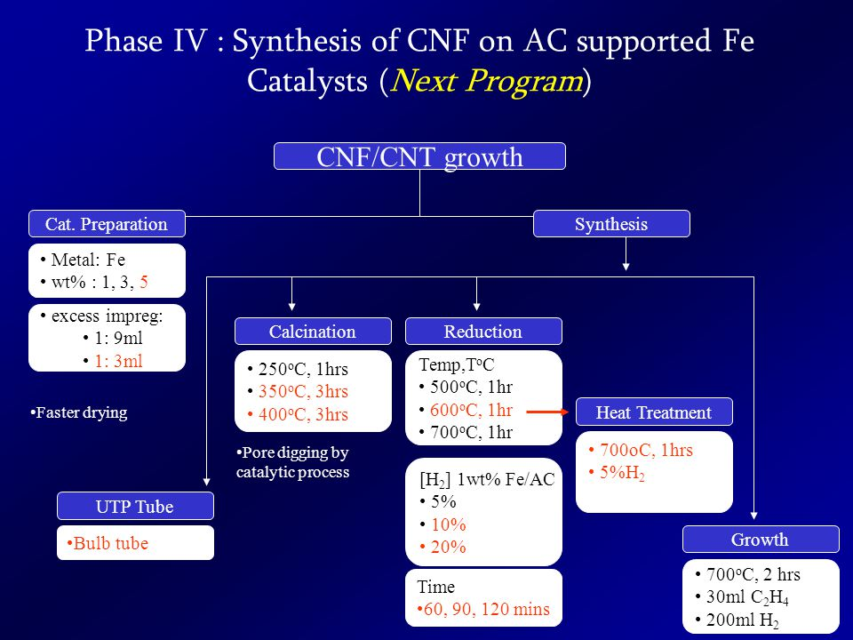 Phase IV : Synthesis of CNF on AC supported Fe Catalysts (Next Program) CNF/CNT growth Cat.