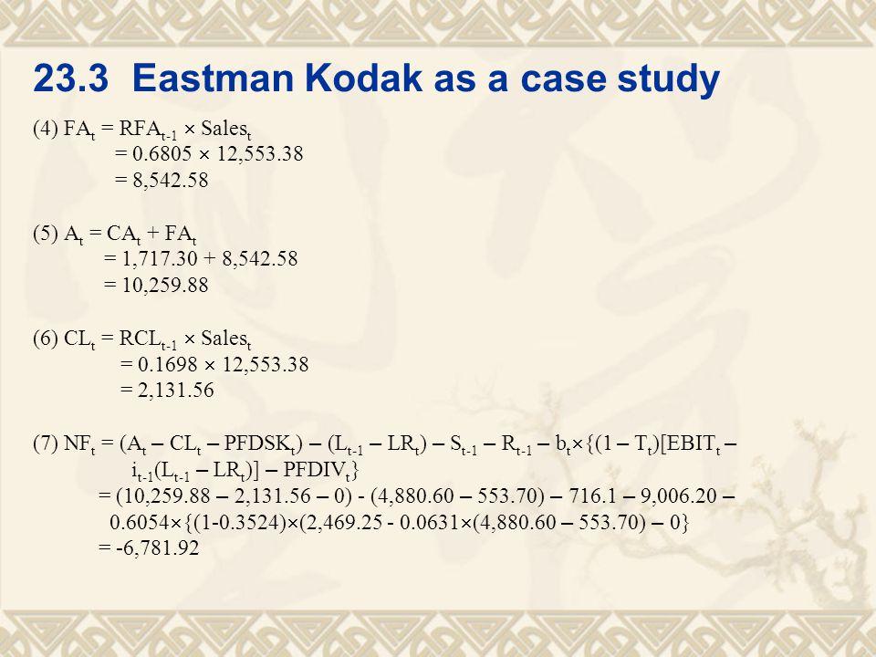 23.3 Eastman Kodak as a case study (4) FA t = RFA t-1  Sales t = 0.6805  12,553.38 = 8,542.58 (5) A t = CA t + FA t = 1,717.30 + 8,542.58 = 10,259.8