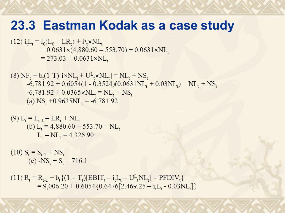 23.3 Eastman Kodak as a case study (12) i t L t = i 0 (L 0 – LR t ) + i e t  NL t = 0.0631  (4,880.60 – 553.70) + 0.0631  NL t = 273.03 + 0.0631 