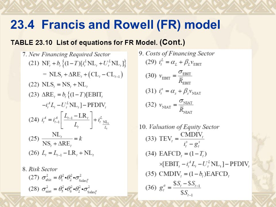 23.4 Francis and Rowell (FR) model TABLE 23.10 List of equations for FR Model. (Cont.)
